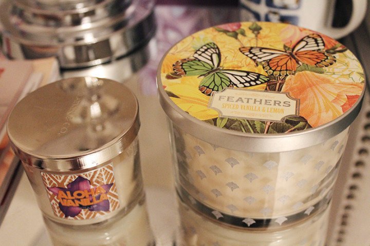 From left: Bath & Body Works - Aloha Vanilla; Feathers - Spiced Vanilla & Lemon - $7.99