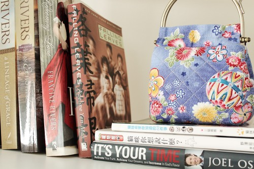 actual books + a handmade purse
