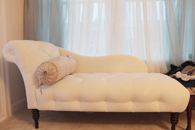 IKEA TERESIA sheer curtains and Skyline tufted chaise