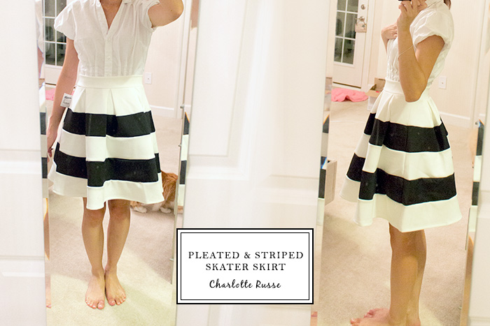PLEATED & STRIPED SKATER SKIRT from Charlotte Russe