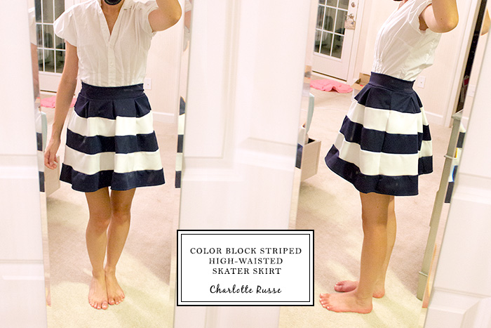 COLOR BLOCK STRIPED HIGH-WAISTED SKATER SKIRT from Charlotte Russe