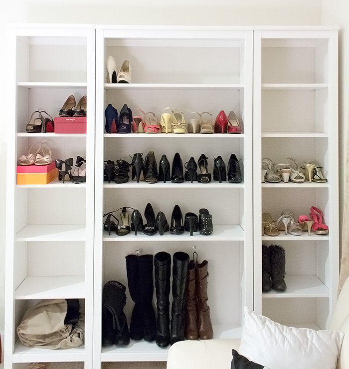 Shoe Storage Display With The Ikea Hemnes Shelves