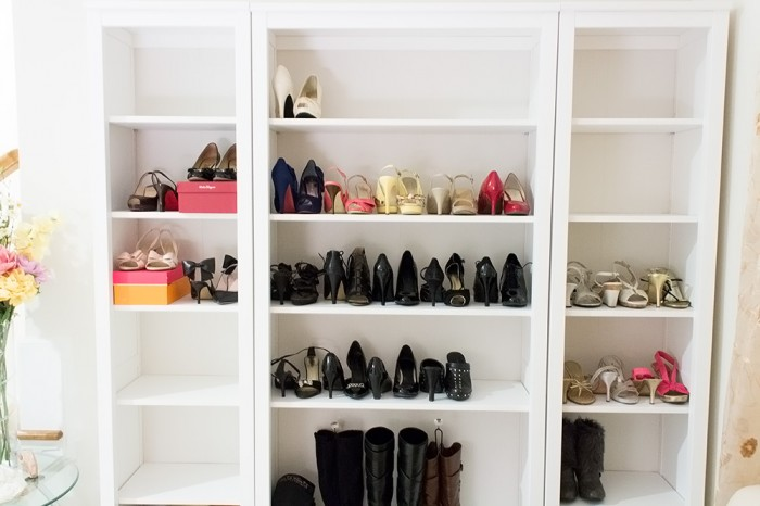 Shoe storage/display with the Ikea Hemnes shelves