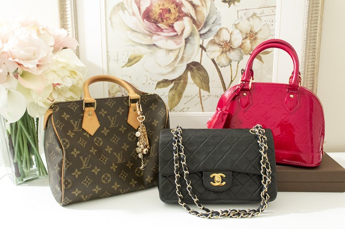 My LV Speedy 25, Chanel Small Classic Flap, and LV Vernis Alma BB