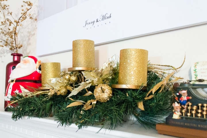 Holiday fireplace mantle decor