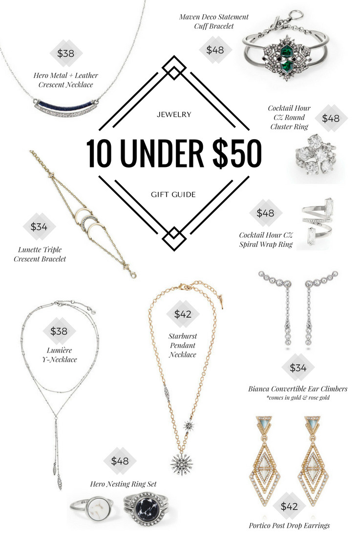 Holiday jewelry gift guide - 10 under $50