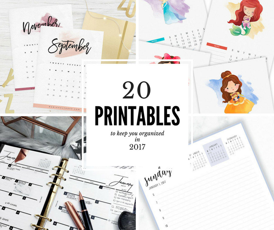 20 free printables to stay organized in 2017