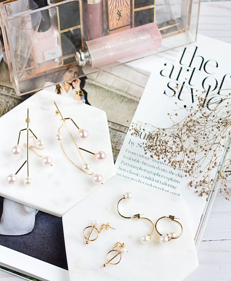 Geometric Gold + Pearl Earrings