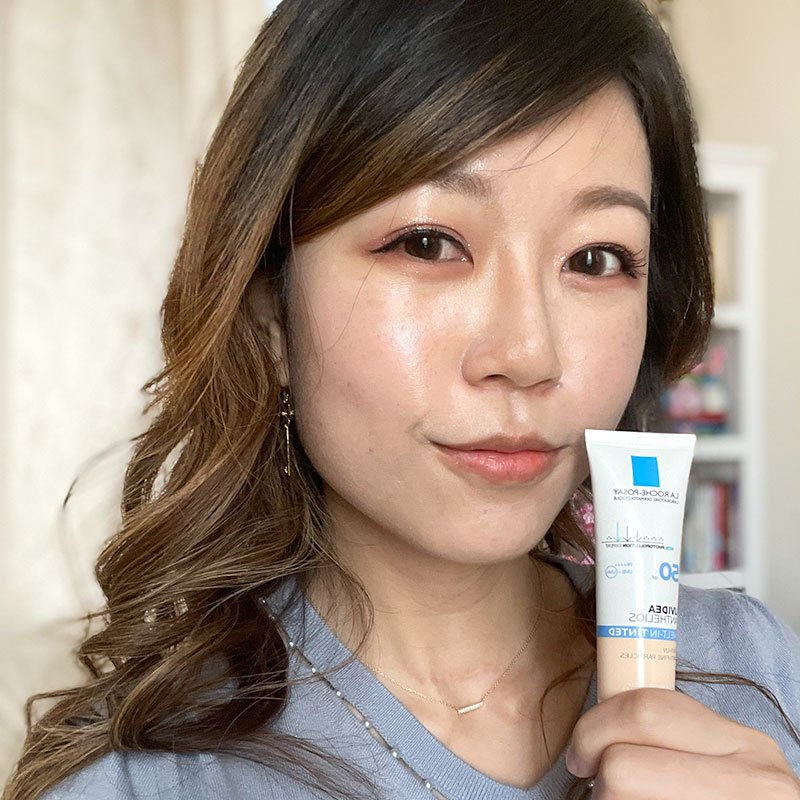 wearing the La Roche Posay UVIdea XL Melt In Tinted Cream