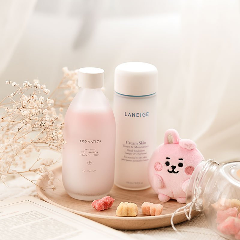 AROMATICA Reviving Rose Infusion Treatment Toner vs Laneige Cream Skin Refiner